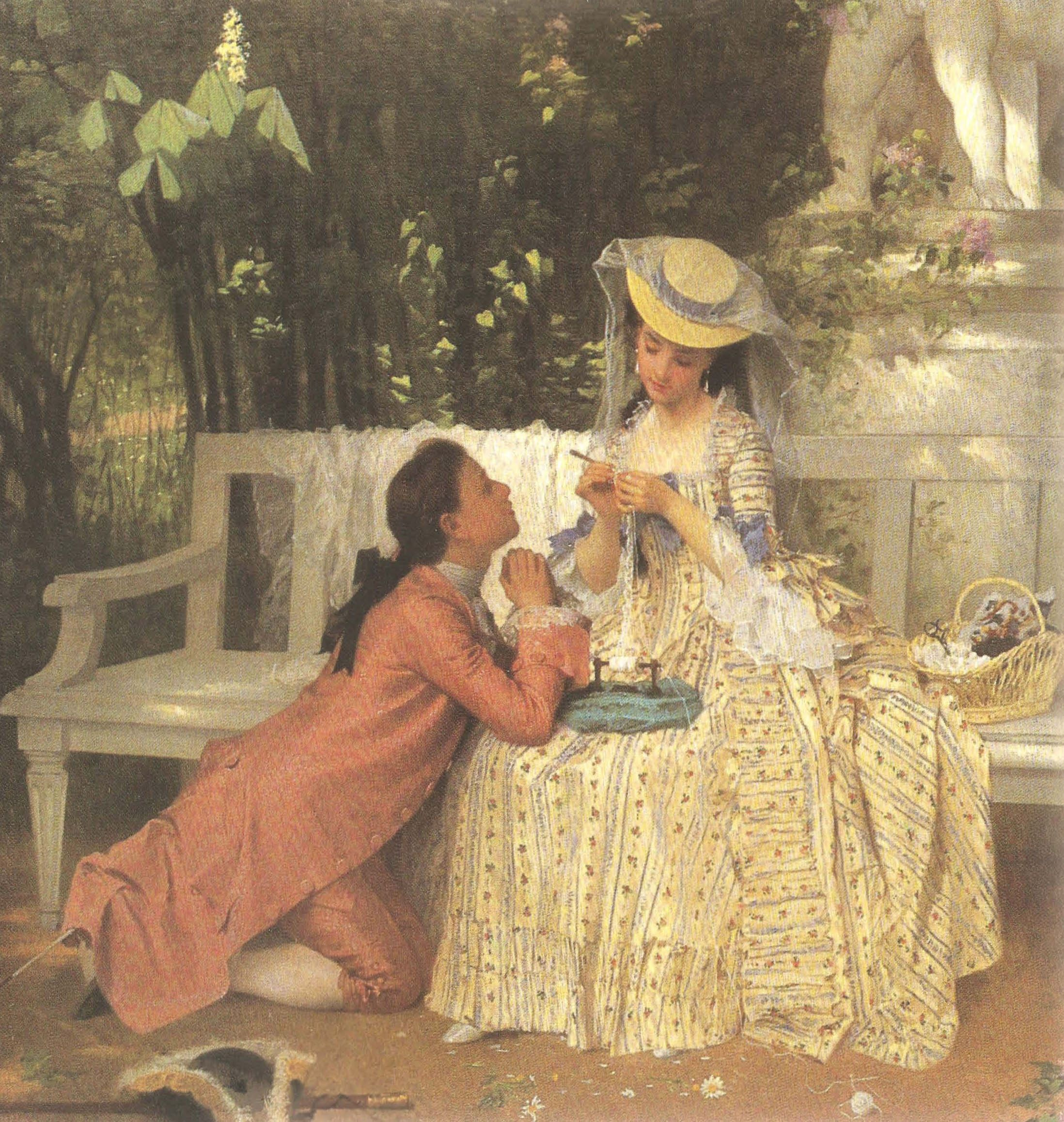 Louix XV declaring himself to Madame du Barry by Joseph Caraund