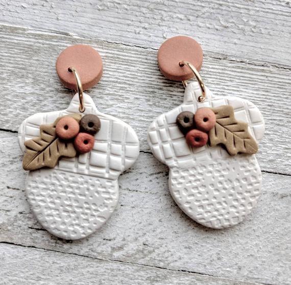Earrings dangle acorn polymer clay rustic boho fall autumn handmade pierced earrings