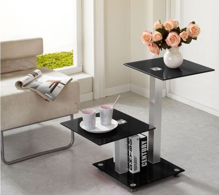details about double glass table book/flower/vase stand shelf