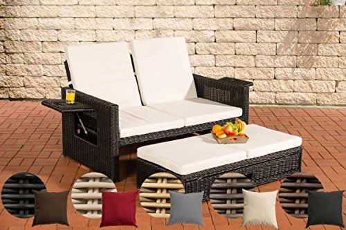 CLP Flexible PolyRattan Outdoor Sofa ANCONA 2 Seater 5 mm thick