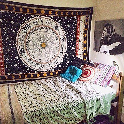 UrbanCharm Wandteppich Sternzeichen, Indisches Design, Auch Als  Picknickdecke/ Tischdecke, Schwarz/Weiß | Bedrooms | Pinterest | Room Ideas,  Indian Tapestry ...