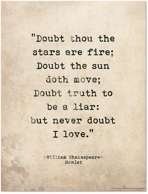 Romantic Quote Poster Hamlet By William Shakespeare Literary Print For Home Or School