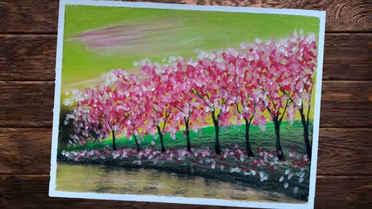 Menggambar Dan Mewarnai Pemandangan Dengan Crayon POHON