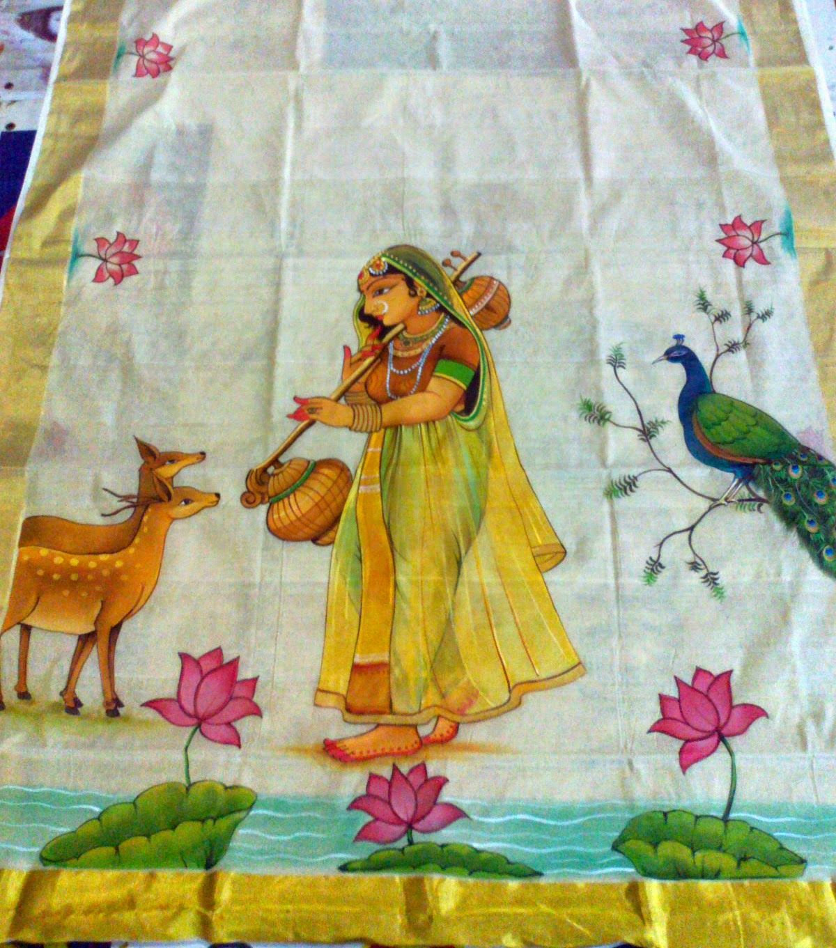 Varnachithra sarees new designs kerala mural for Aithihya mural painting fabrics