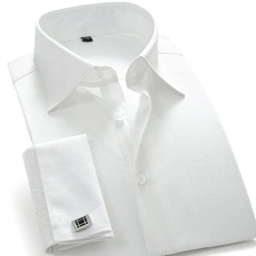 Mens Solid Color French Cuff Dress Shirts Long Sleeve Spread Collar