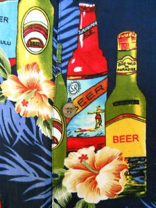 XL Third Coast Mens Black Hawaiian Shirt Beer Bottles Flowers Green Leaves
