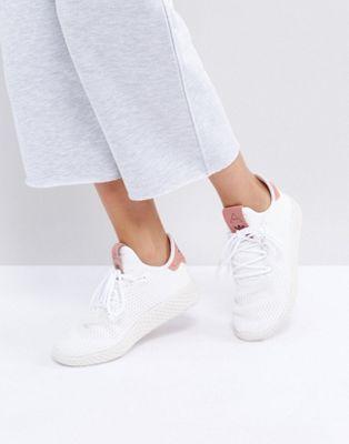 adidas Originals X Pharrell Williams - Tennis HU - Baskets - Blanc et rose ca118a5d9f8c