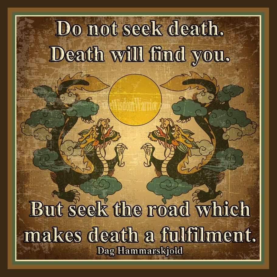 Do Not Seek Death. Death Will Find You. But Seek The Road Which Makes