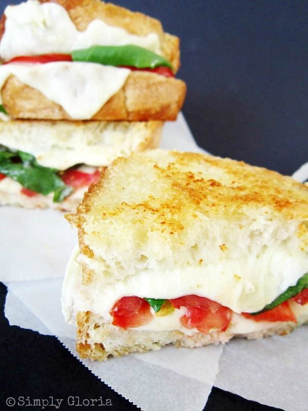 Caprese Grilled Cheese, would be yummy with soup in the winter or watermelon in the summer.