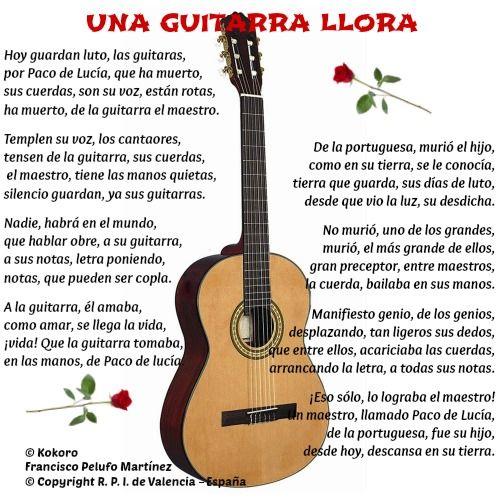 Una Guitarra Llora Poema A Paco De Lucia En Alma En Poesia Http