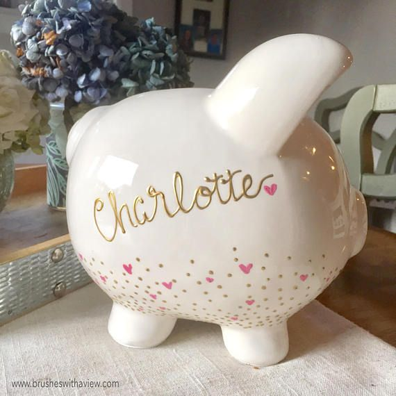 This Hand Painted Personalized Piggy Bank Is A Large White With Gold And Lettered Writing The Pink Details Will Match