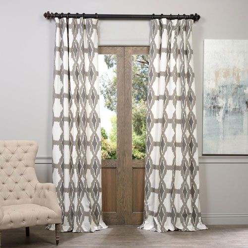 Sorong Grey 50 X 96 Inch Printed Curtain Curtains Cotton