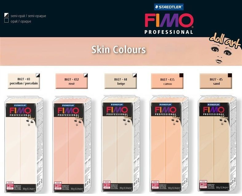 Genuine FIMO Professional Doll Art Skin Colours Oven Bake Modelling Clay 350g