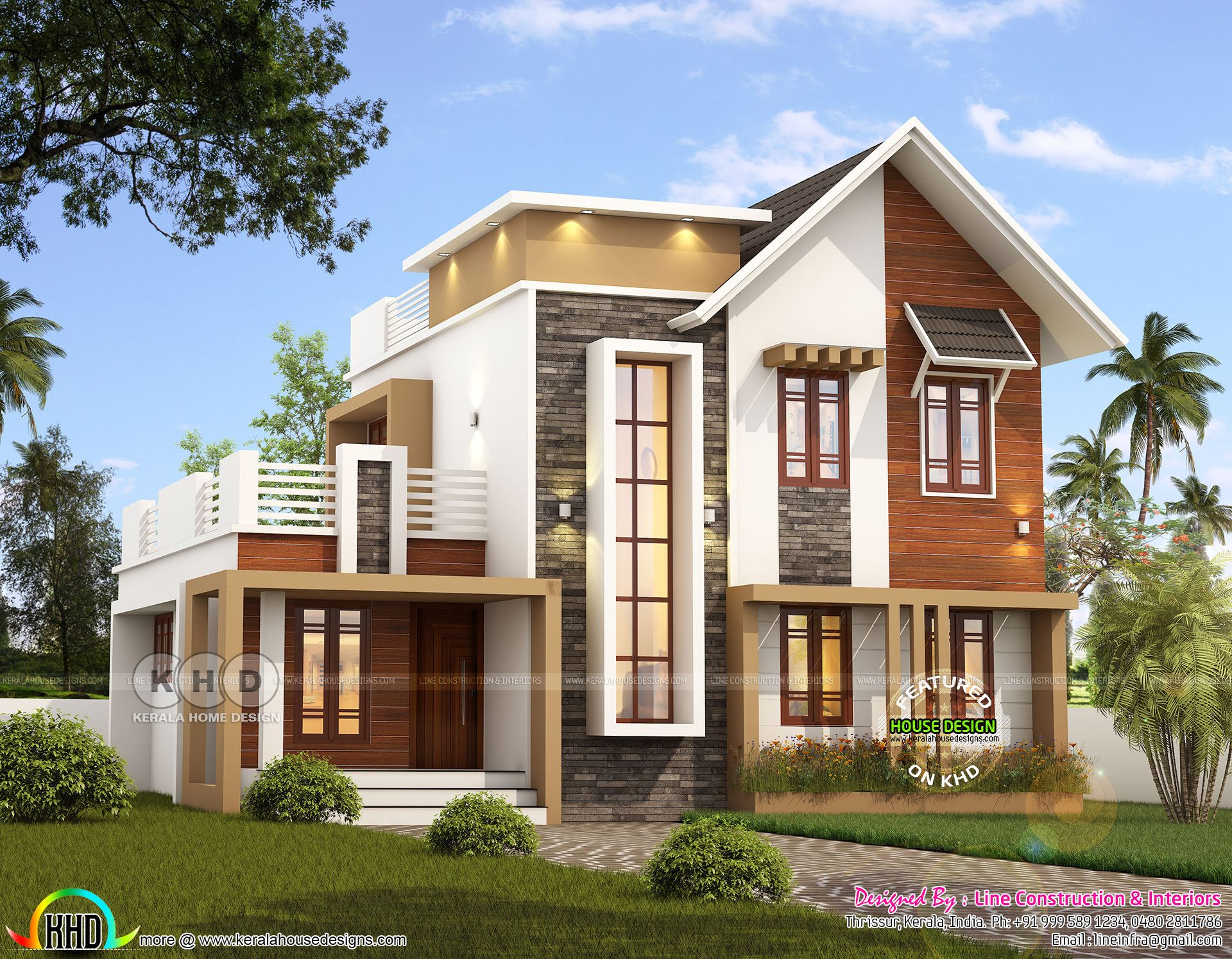 1742 Square Feet 4 Bedroom Mixed Roof Modern Home Kerala House Design Latest House Designs Model House Plan