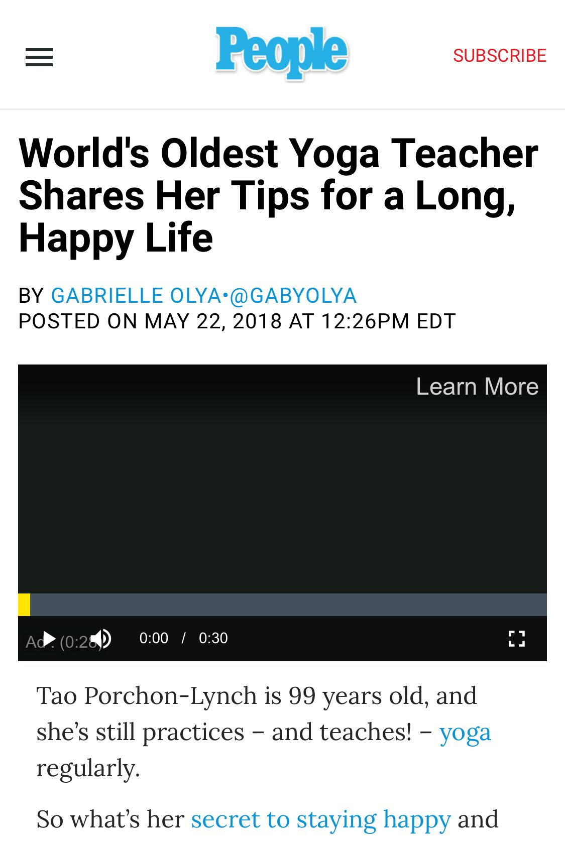 World S Oldest Yoga Teacher Shares Her Tips For A Long Happy Life Yoga Teacher Happy Life Feeling Happy