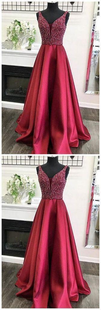 Perlen Abendkleid Eine Linie Rock, Kleider Für Event, Abendkleid   – Burgundy & Red Dresses