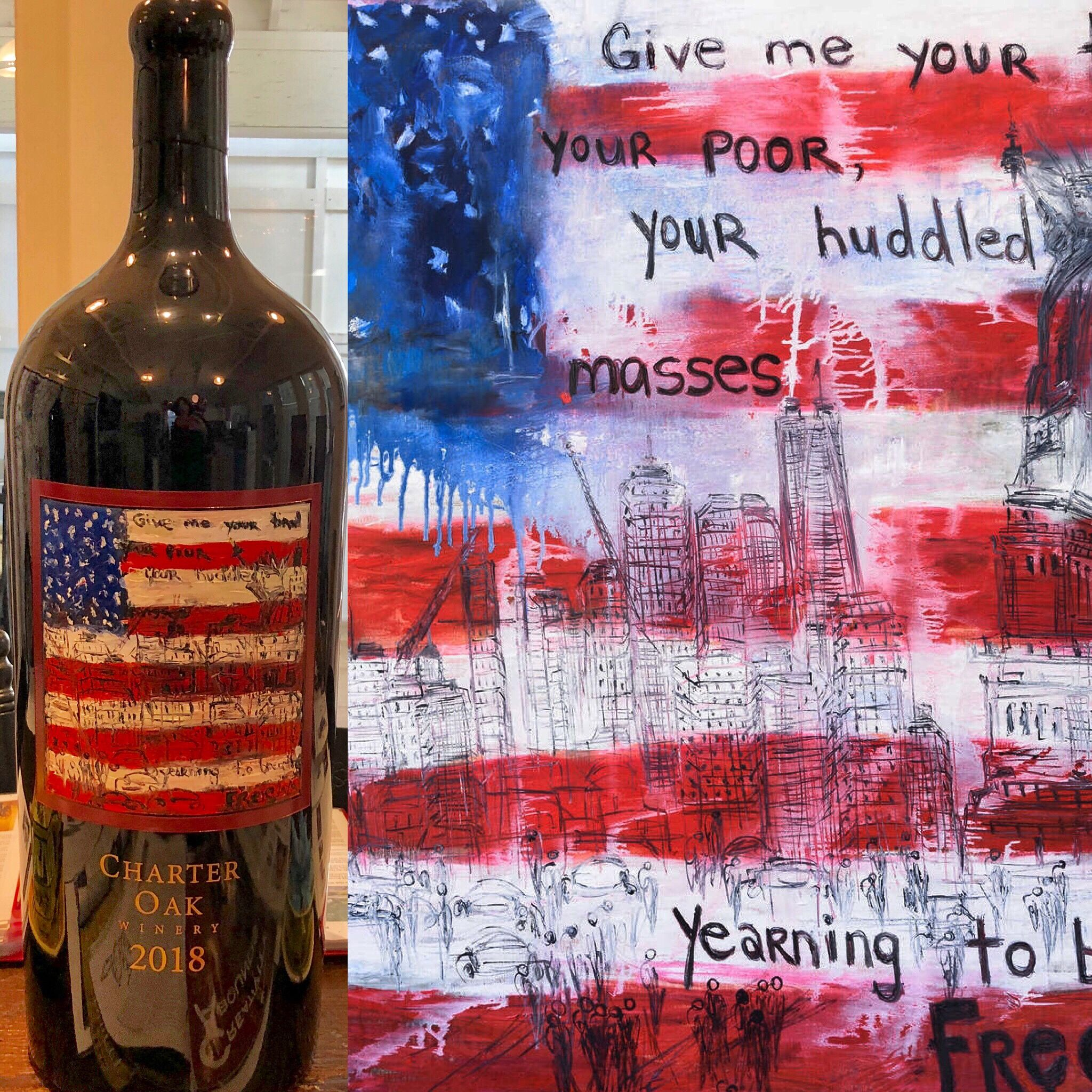 Finished Painting God Bless The Children Oil On Canvas 48 X 48 Etched And Painted Charter Oak Wine Bottle 12l One Ca Wine Bottle Cabernet Sauvignon Bottle