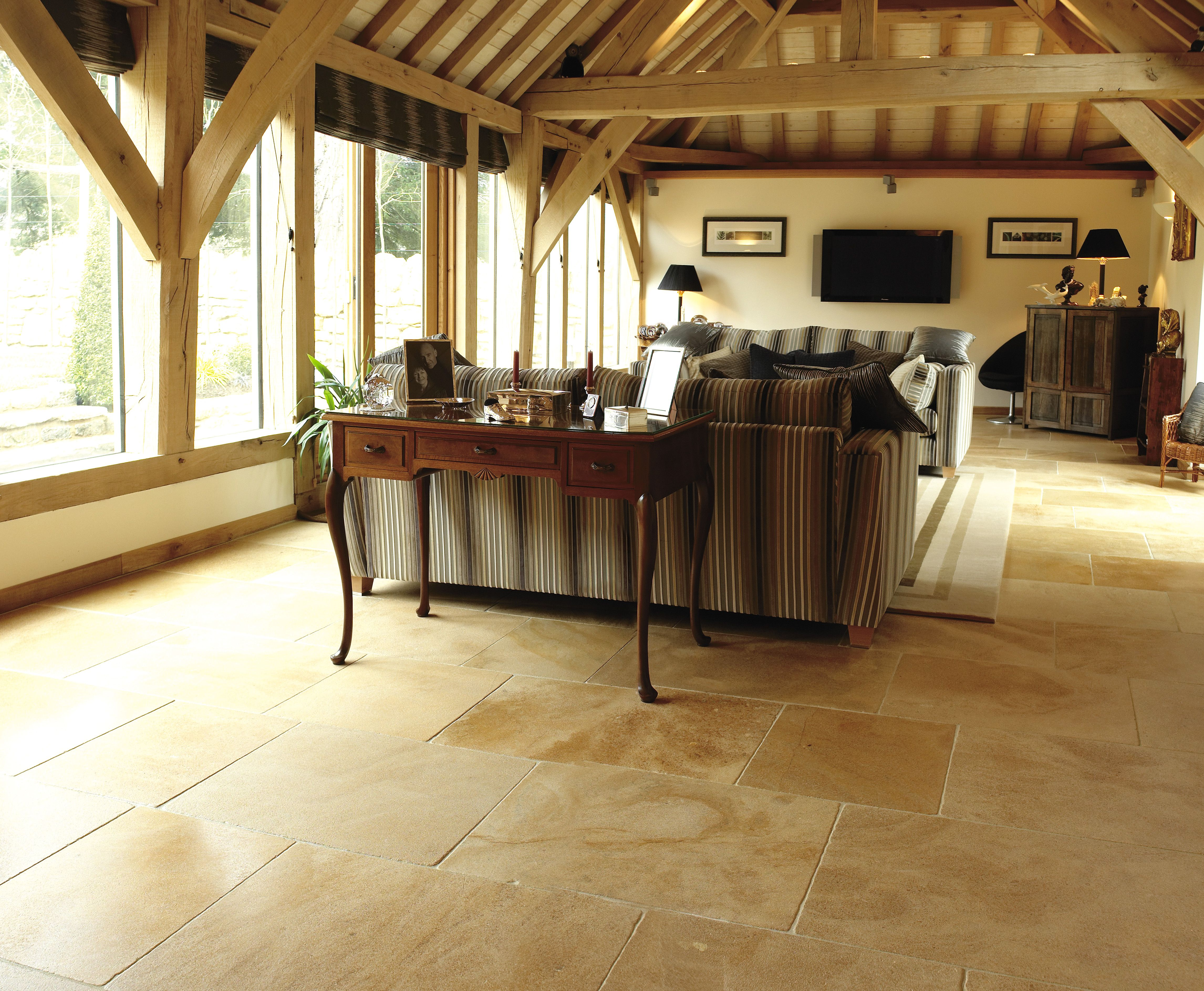 Barn Conversion Kitchens cotswold cream - a flagstone floor tile for kitchens of barn