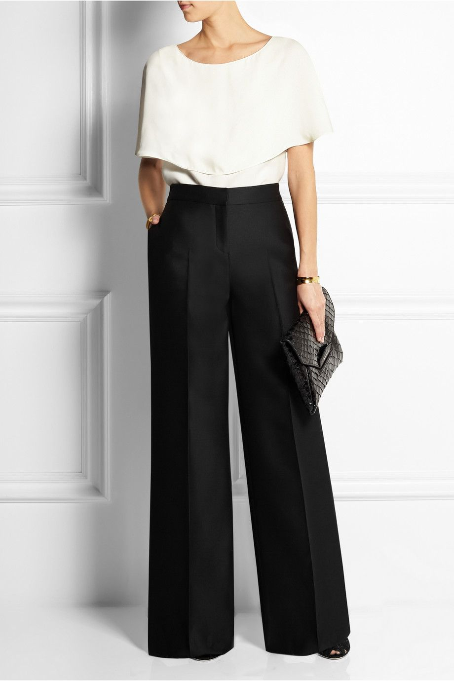 Wool And Silk-blend Crepe Cropped Wide-leg Pants - Black Valentino SFcHQEgeX