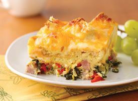 Ham, Spinach and Cheese Strata  Brunch for a crowd? Layer it all in the baking dish the day before serving. Just pop it in the oven for a fuss-free, easy-on-the-host brunch