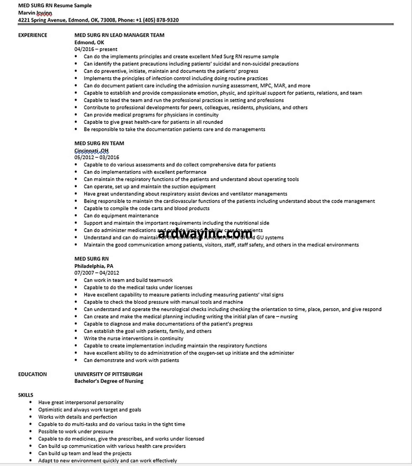 MED SURG RN Resume Sample in 2020 Med surg, Med surg rn