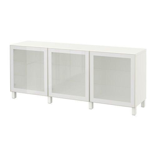 265 € BESTÅ Säilytyskokonaisuus+ovet, valkoinen, Glassvik valkoinen huurrelasi valkoinen/Glassvik valkoinen huurrelasi 180x40x74 cm -