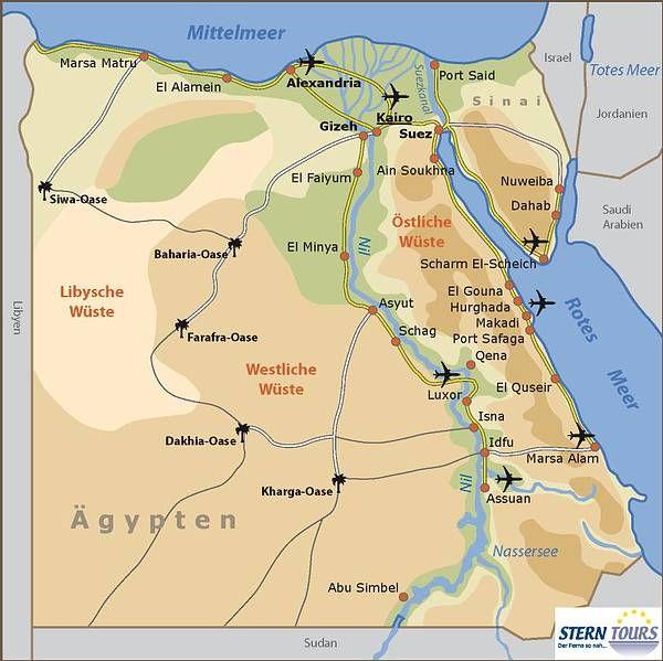 Weltkarte Auf Deutsch Die Stadte Und Resorts In Agypten Am Roten Meer