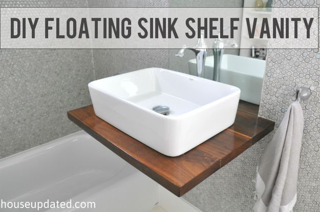 Floating Wood Console With Vessel Sink Maybe With A Bit
