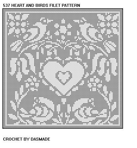 Hearts And Birds Filet Crochet Doily Pattern 537 Crochet Doily