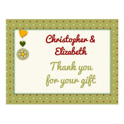 Personalized name Christmas Thank you green Postcard - postcard post