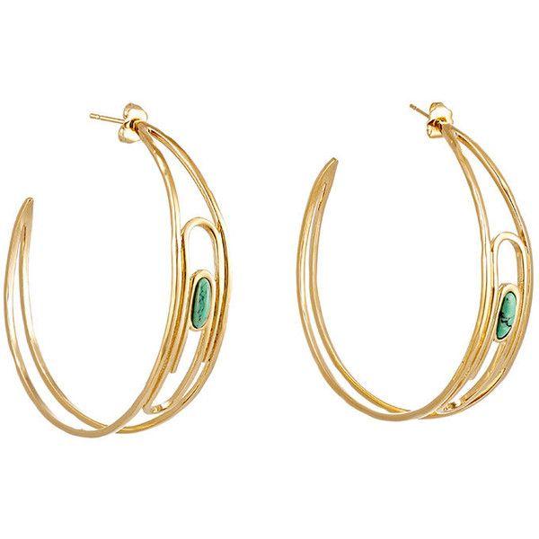 Aurélie Bidermann Women's Angelica Hoop Earrings ($400) ❤ liked on Polyvore featuring jewelry, earrings, colorless, green earrings, clear crystal earrings, 18 karat gold jewelry, green jewelry and aurélie bidermann