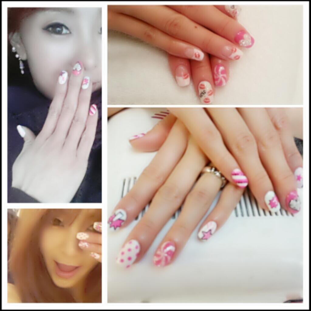 Hot Pink nail art 사랑 은 오늘 까지다!ㅋ  형광 핑크...좋은데...이제 다른 색갈로 변신 할꺼다!ㅋ 음중 녹화 이제 끝나고 고고고!♡♥♡