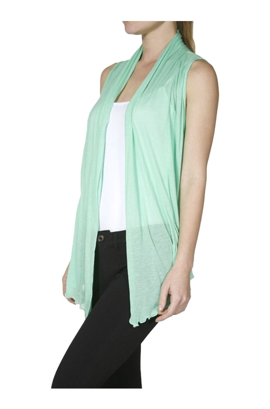 Sleeveless Open Front Cardigan Vest W/ Pockets | Open front ...