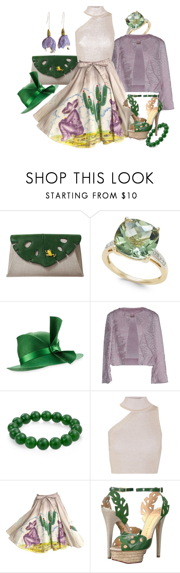 """""""Violet"""" by lizzyslegs ❤ liked on Polyvore featuring Charlotte Olympia, Philip Treacy, Chlotilde, Bling Jewelry and Cushnie Et Ochs"""