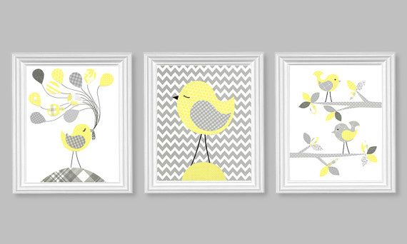 Nursery Art Gray And Lemon Yellow Zig Zag By SweetPeaNurseryArt