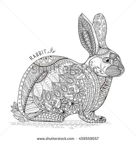 Amazing Rabbit Head Coloring Page In Exquisite Style Coloring