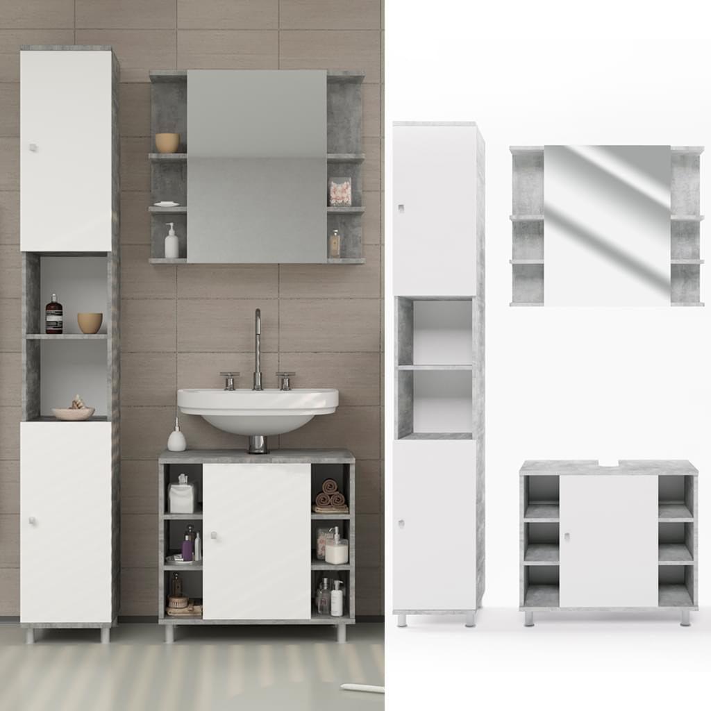 9 Badmobel Set Fynn Weiss Grau Beton Badezimmer Real Badezimmer Hochschrank Badezimmer Beton Badezimmer