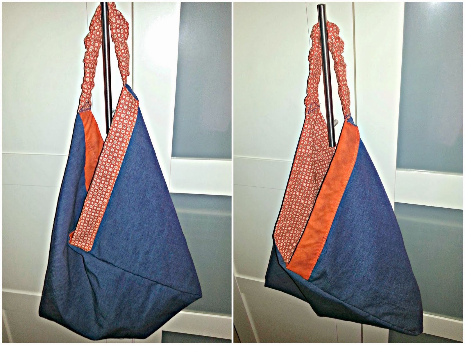 Origami Market Bag aus altem Vorhang / Origami Market Bag made from old curtain / Upcycling