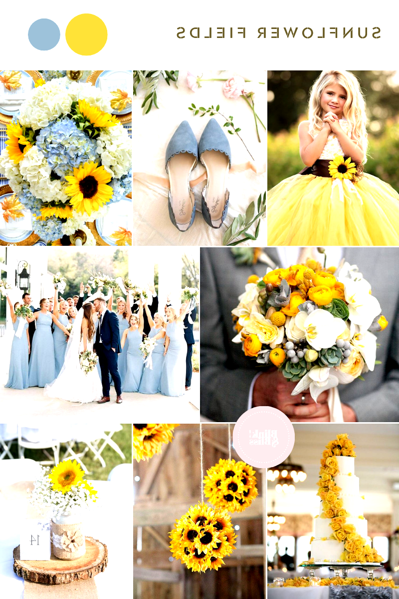 Rustic yellow sunflowers and dusty blue wedding colors for