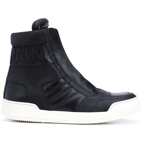 Balmain logo hi-top sneakers (615 CAD) ❤ liked on Polyvore featuring men's  fashion, men's shoes, men's sneakers, black, shoes, mens black hi top  sneakers, ...
