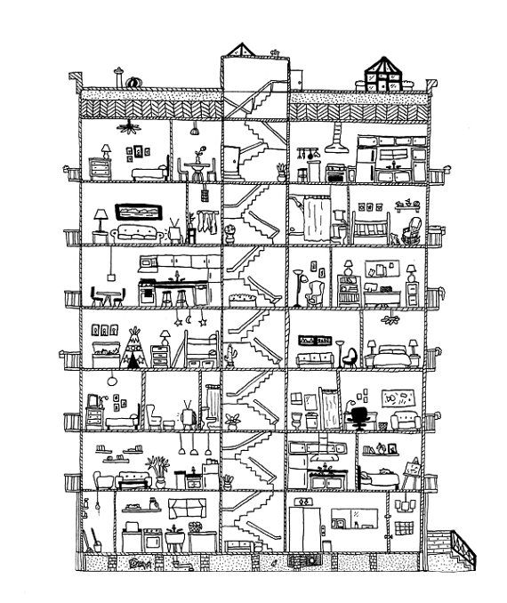 Apartment cross section print | Coloring pages, Color ...