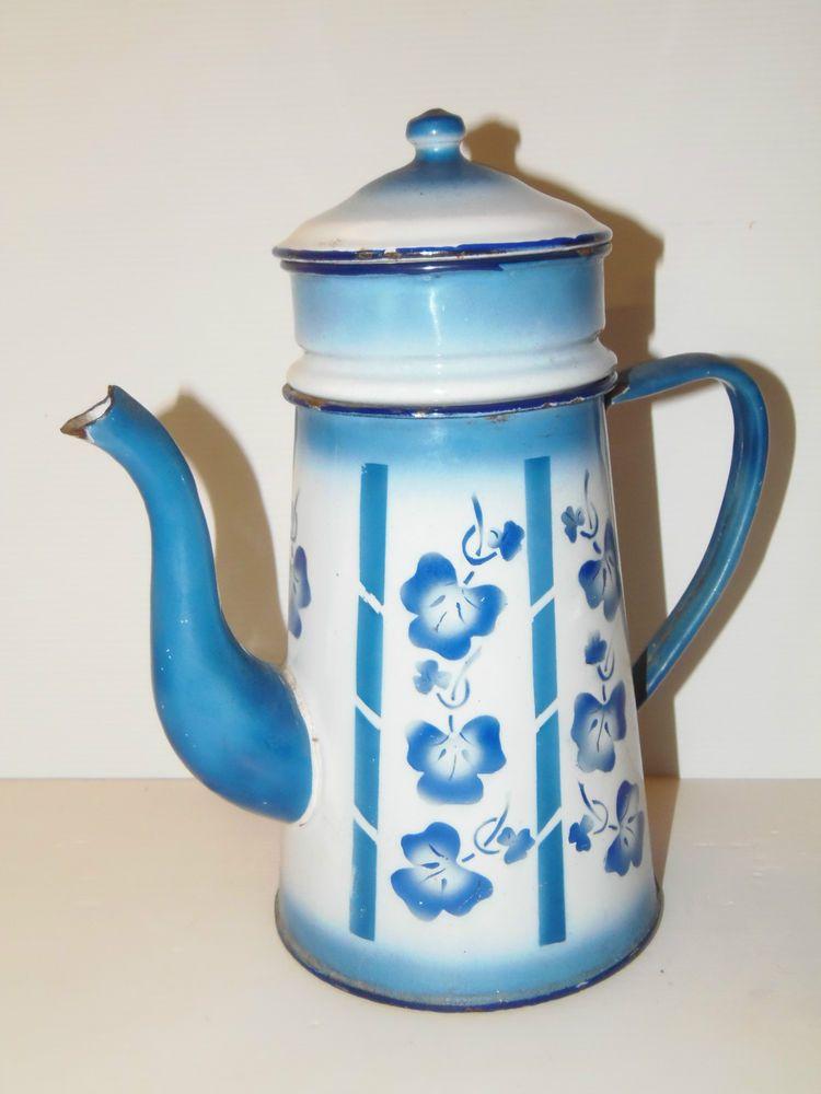 BELLE CAFETIERE EMAILLEE Bleu et Blanc avec Feuilles ou Fleurs ...