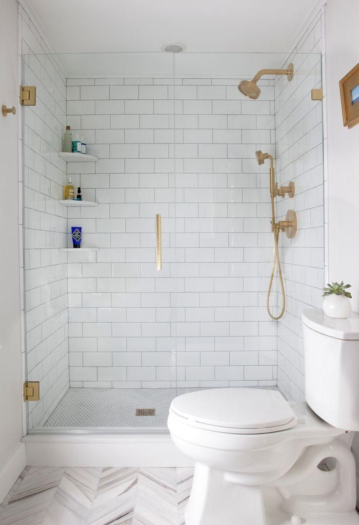 Gorgeous All White Bathroom With Brass Fixtures Built In Corner Shelves And A Soft Gray Her Bathroom Design Small Small Bathroom Remodel Master Suite Addition