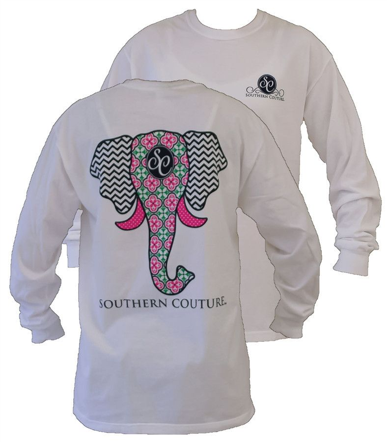 Southern Couture Preppy Elephant Chevron Pattern Comfort Colors ...