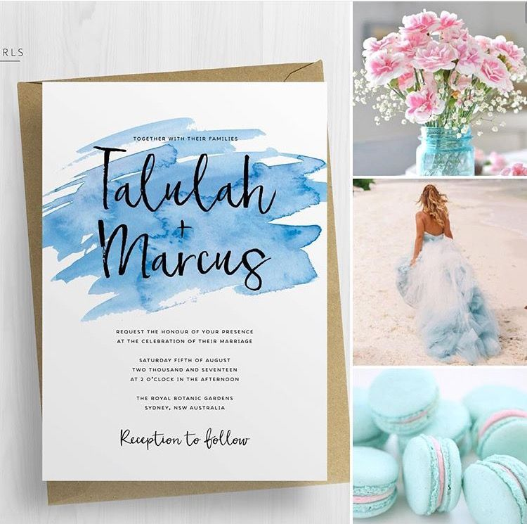 Blue Watercolour Wedding Invitations | The Talulah Suite by Paper ...