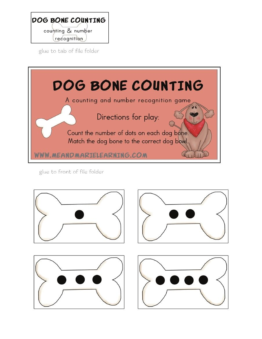 Dog Bone Counting Free Printable Numbers Pets Preschool