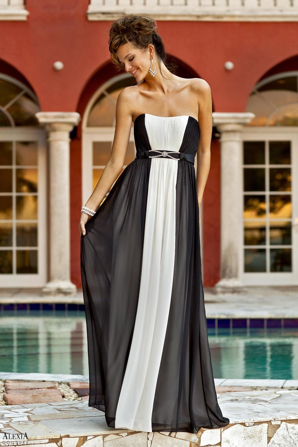 Black and white bella chiffon pleated floor length dress band at