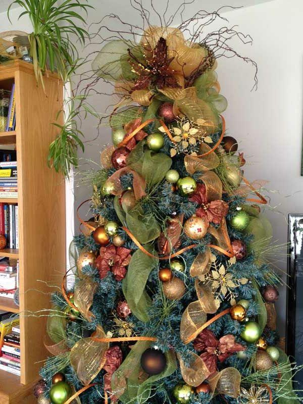 wunderschön dekorierter Weihnachtsbaum Christmas Tree Mesh Ribbon, Christmas  Tree Decorations Ribbon, Unique Christmas Trees - Wunderschöne Ideen Für Weihnachtsbaum Deko! Christmas Trees