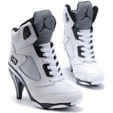 Discount Authentic Womens Nike Air Jordan 5 High Heels Shoes Black/White