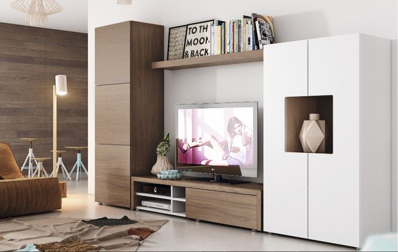 Mueble natural nogal blanco mueble de tv pinterest for Muebles nogal americano